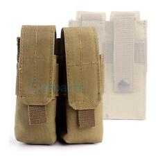 Tactical Molle Dual Double Pistol 9MM Mag Magazine Pouch Close Holster