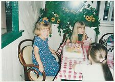 Found PHOTO Little Girls w/ Cake at Birthday Party