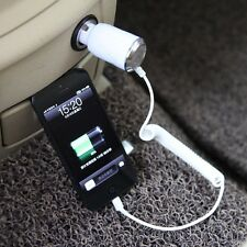 New White 8 Pin to USB Car Charger & Lightning Cable for iphone5/ 5S/ iPod/Ipad
