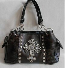 SHOULDER BAG Organizing Purse STUDDED CROSS & FEATHERS on the FRONT