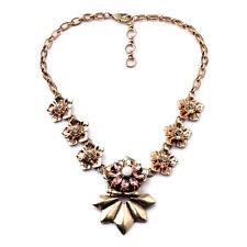 Exquiste Anthropologie Benigna Flower Gemmed Golden Tarnished Necklace