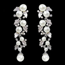 Wedding Bridal Leaf Fuax Pearl Dangle Earrings Austrian Crystal Clear Bridesmaid