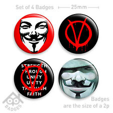 "V For Vendetta Mask Comic Movie Occupy Protest -1"" Badge x4 Badges NEW"
