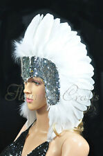 White feather sequins las vegas dancer showgirl headpiece headdress