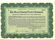 Ocean County Electric Company $100 bond 1921 New Jersey