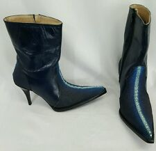 Jar Boots Mexico blue leather high heel pointed booties western cowgirl US7