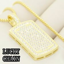 "24""925 STERLING SILVER GOLD FRANCO BOX CHAIN ICED OUT DOGTAG PENDANT 20g R300"