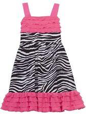 NWT RARE EDITIONS Girl 6X Spring Pink Eyelash Ruffle Zebra Print SCHOOL Dress