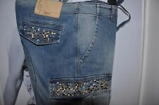 "WOMEN BOYFRIEND FADED BLUE JEANS ""DENNY ROSE"", METALLIC & CRYSTAL DETAILS   M"
