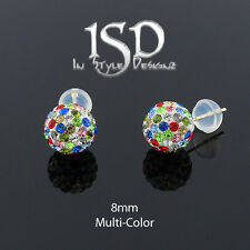 14k Gold 8mm Swarovski Elements Multi Color Crystal Disco Ball Stud Earring