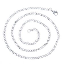 1PC 1.6mm Stainless Steel Cuban Curb Link Chain Necklace Silver Tone 52cm
