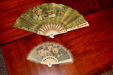 2 VINTAGE FABRIC LACE TRIM HAND FANS, SPANISH, FLORAL, GOLD BROCADE, SIGNED