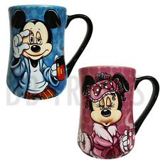 """Disney Parks Mickey Mouse and Minnie Mouse """"Mornings"""" Coffee Mug Set"""