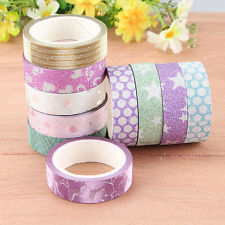 10PCS Self Adhesive Glitter Washi Masking Tape Sticker Craft DIY Decor 15mmx3m