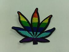 RAINBOW MARIJUANA HEMP EMBROIDERED PATCH ABOUT 3 INCHES X 3 INCHES SEW OR IRON
