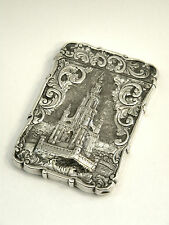ANTIQUE VICTORIAN SOLID SILVER CASTLE TOP CARD CASE BIRM. 1852 SCOTT MEMORIAL