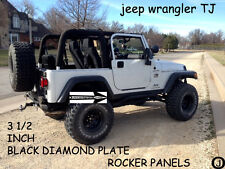 "Jeep  TJ Wrangler 3 1/2"" BLACK Diamond Plate Rocker Panels    FREE SHIPPING"