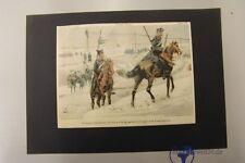 altes Lithographie 1. WK Uniformen Unser Heer Sachsen Husaren und Ulanen
