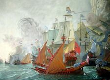OIL PAINTING ON CANVAS,ACTION BETWEEN DUTCH FLEET & BARBARY PIRATES 120cm x 90cm