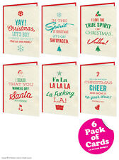Brainbox Candy Rude Christmas Xmas card multi pack of 6 funny cheeky humour