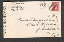Canada Jan 1942 WWII examined by C.134 censor cover Waverly NS to NY