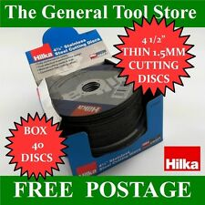 "4 1/2"" EXTRA THIN 1.5 MM STAINLESS STEEL METAL CUTTING DISCS BOX 40 HILKA"