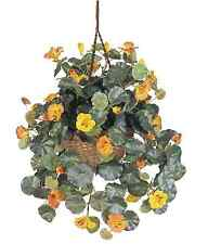Nearly Natural Nasturtium Hanging Basket Artificial Silk Plant Flower Home Decor