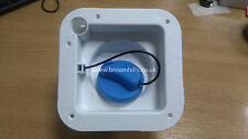 HYMER MOTORHOME & CARAVAN FRESH WATER INLET WITH BLUE CAP LESS FLAP WHITE