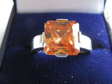 SECONDHAND STERLING SILVER THOMAS SABO SQUARE YELLOW GEMSTONE RING SIZE L-M.