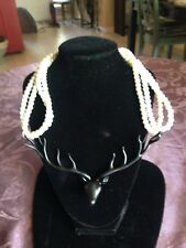 UNIQUE DEER AND FAUX PEARL NECKLACE BLACK AND WHITE COSTUME