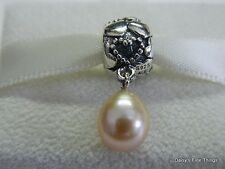 NEW AUTHENTIC PANDORA CHARM FAMILY PEARL OF HEARTS DANGLE #791017PNP  HINGED BOX