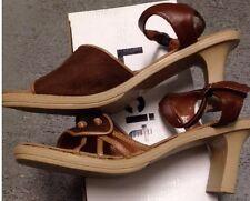 NEW Lucita 10 41 Womens Summer Shoes Sandals Sling Back Brown Ankle Strap FUN