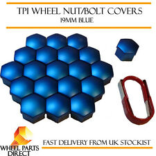 TPI Blue Wheel Nut Bolt Covers 19mm for Honda Jazz Electric 13-16