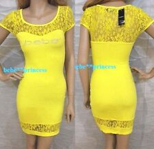 NWT bebe logo rhinestone yellow lace sleeve inset bodycon top dress S Small sexy