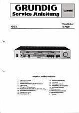 Service Manual-Anleitung für Grundig V 7000