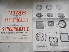 Vintage Brochure & Price List From SYNCHROMATIC TIME RECORDING COMPANY