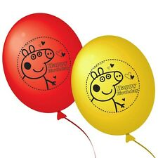 10 Peppa Pig Red Yellow HAPPY BIRTHDAY Party Printed Latex Balloons