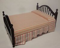 1:12 Scale Mahogany  Double Bed Dolls House Miniature  Bedroom