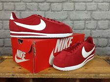 NIKE MENS UK 8 EU 42.5 RED WHITE NYLON CORTEZ TRAINERS