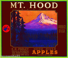 Hood River Oregon Mt. Apple Fruit Crate Label Art Print