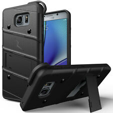 SAMSUNG GALAXY NOTE 5 FULL BLACK ZIZO BOLT RUGGED HYBRID CASE COVER+CLIP HOLSTER