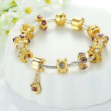 New Fashion 18k Gold Murano Bead Charm Bracelets With Crystal Women Bangle Gifts