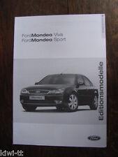 Ford Mondeo Viva + Sport Editionsmodelle, Preisliste (price-list) 16.4.2004, D