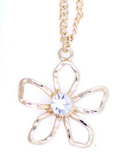 Pretty gold tone daisy charm necklace with crystal centre 50s retro