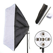 "PRO E27 5 Socket Light Lamp Bulb Head + 60x90cm/24x35"" Studio Photo Softbox Kit"