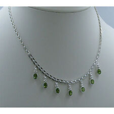 .925 Sterling Silver Faceted cut Natural Green Peridot Link Chain Necklace