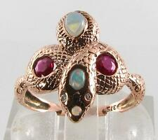 9CT Rose Gold Snake Natural Indian Ruby Australian Opal & Diamond Ring