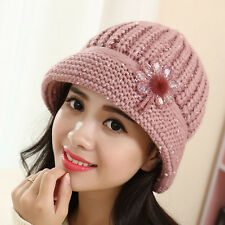 Fashion Womens Winter Baggy Beanie Hat Warm Flower Knit Crochet Slouch Ski Cap