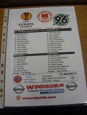 02/08/2012 Color teamsheet: St Patricks Athletic V Europa Liga de Hannover 96 []