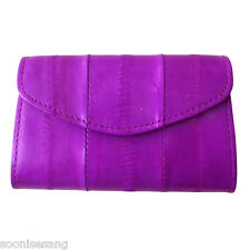 Genuine Eel Skin Leather Button Coin Purse Rectangle Wallet (Magenta)